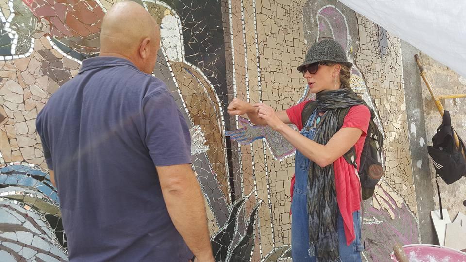 Trish Metzner advising on wall design.