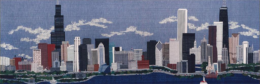 Chicago Skyline, fiber art by Sally Schoch