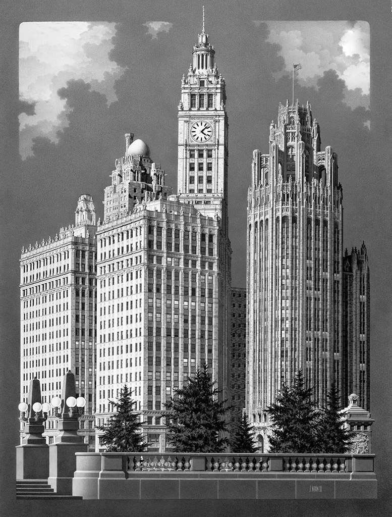 Wrigley Building Chicago pencil drawing by Jack Nixon